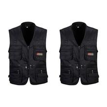 2 Pcs Men's Fishing Vest with Multi-Pocket Zip for Photograp