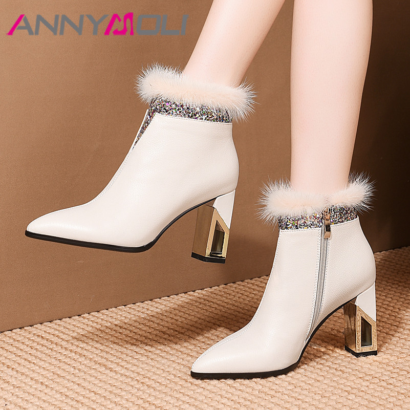 ANNYMOLI Winter Ankle Boots Women Natural Genuine Leather Zip Block Heel Short Boots Fur Extreme High Heel Shoes Lady Size 34-39