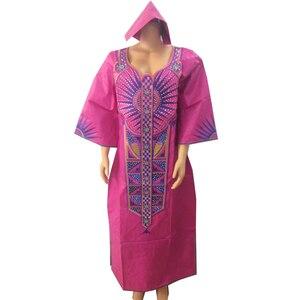 Image 1 - MD 2020 Dashiki Váy Đầm Cho Nữ Châu Phi Bazin Riche Áo Dài Với Headwrap Plus Size Đầm Thêu Châu Phi Nữ Quần Áo