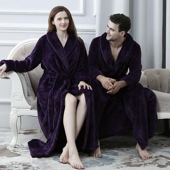 Women Men Extra Long Warm Dobby Coral Fleece Bathrobe Winter Thick Flannel Thermal Bath Robe Kimono Dressing Gown