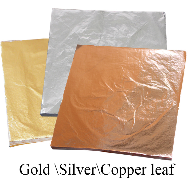 Imitation Gold Leaf Paper 1000PCS Gold/Silver/Copper Foil 14CM&16CM, Decoration Gilded Furniture Crafts Wall Drawing Metal Foil