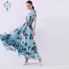 CUERLY summer maxi dress women V-neck sexy dresses 2019 girls Cherry print elastic waist large flutter hem slim party vestidos