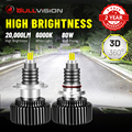 BULLVISION светодиодный H7 фары 20000LM 360 градусов H4 9012 HIR2 H1 H11 H8 H9 9005 9006 HB3 HB4 светодиоды с чипом CSP 6000 К 8000 дальний/ближний свет