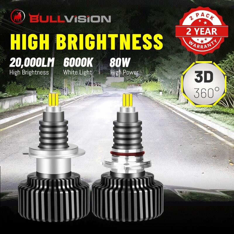 BULLVISION светодиодный H7 фары 20000LM 3D 360 градусов светодиоды с чипом CSP H4 9012 HIR2 H1 H11 H8 H9 9005 9006 HB3 HB4 6000K 8000 К Hi/Lo луч