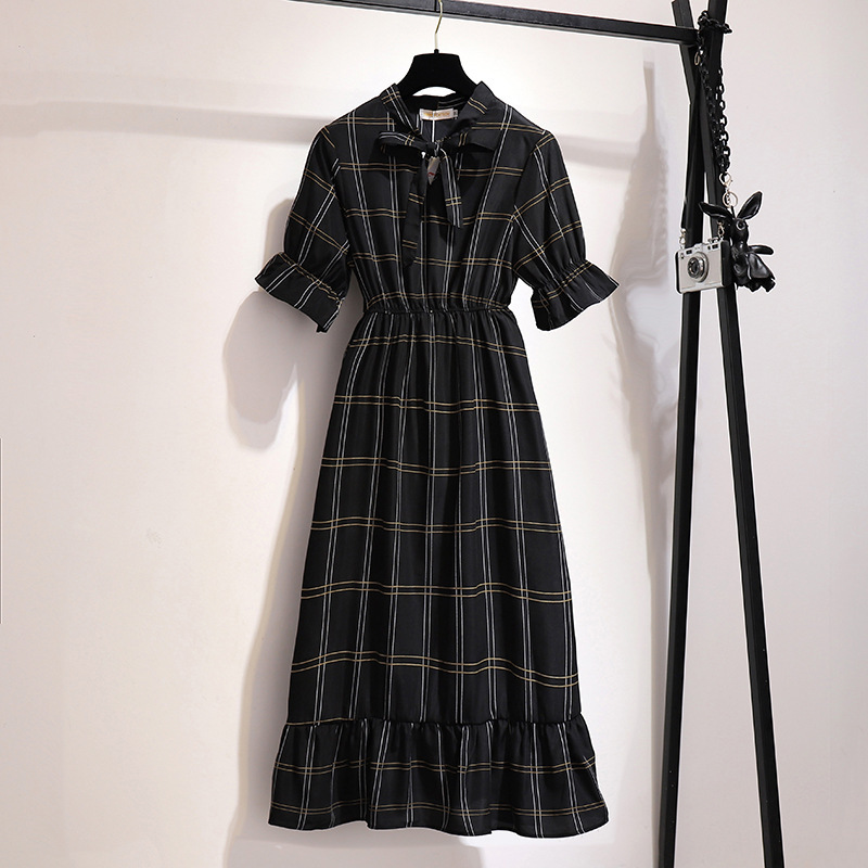 2020 summer <font><b>plus</b></font> <font><b>size</b></font> short sleeve long <font><b>dress</b></font> for women large loose casual bow collar plaid O neck <font><b>dresses</b></font> black 5XL 6XL <font><b>7XL</b></font> image