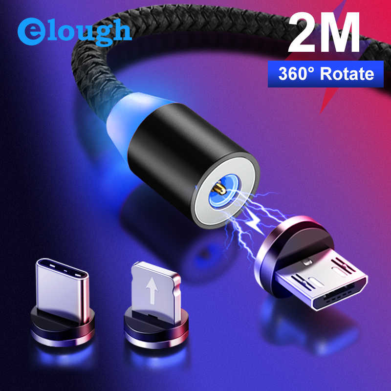 Elough Magnetic Charging Micro USB Cable Charger for iPhone Xiaomi Mobile Phone Magnet USB Charger Type C Cable Cord El360