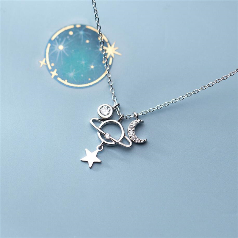 Sole Memory Trend Stars Moon Planet Universe Simple Cute 925 Sterling Silver Clavicle Chain Female Necklace SNE464