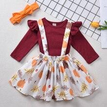 Комплекты одежды из 3 предметов для маленьких девочек наряд «Мой первый день благодарения» детские топы с изображением тыквы+ юбка-комбинезон+ повязка на голову, комплекты одежды