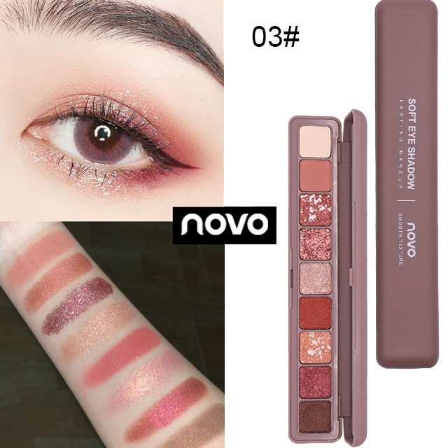 NOVO 9 Colors Glitter Galaxy Eyeshadow Shimmer Matte Smoky Makeup Palette Pigmented Eye Shadow Shine Diamond Shadow Kit 5