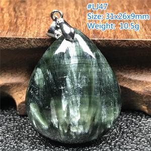 Image 3 - Лучший кулон из натурального зеленого серафинита для женщин и мужчин, подарок на любовь, хрустальные бусины в форме капли воды, ожерелье из драгоценных камней, кулон, ювелирные изделия AAAAA