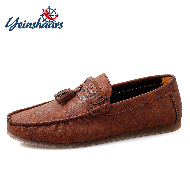 YEINSHAARS Men Leather Loafers Shoes Tassel Design Business Shoes Men Flats Big Size 47 Simple Slip On Male Mans Casual Footwear