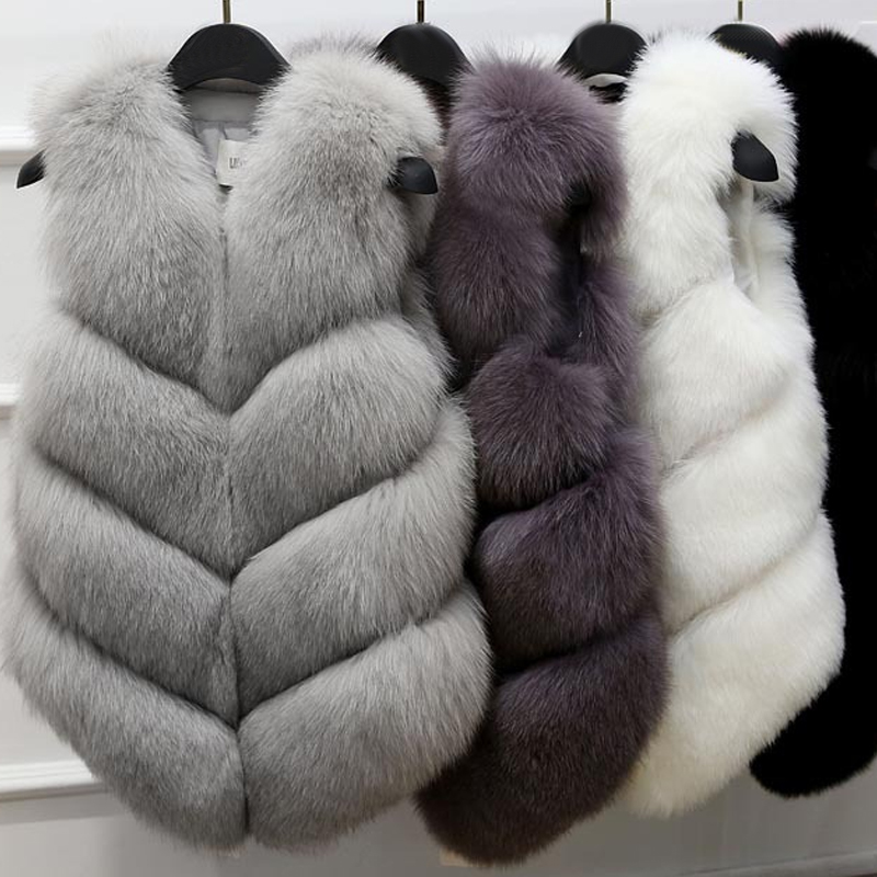 Warm Faux Fur Fox Vest Women Winter Casual Artifical Fur Warm Coat Super X Waistcoat Female Faux Furs Wholesale