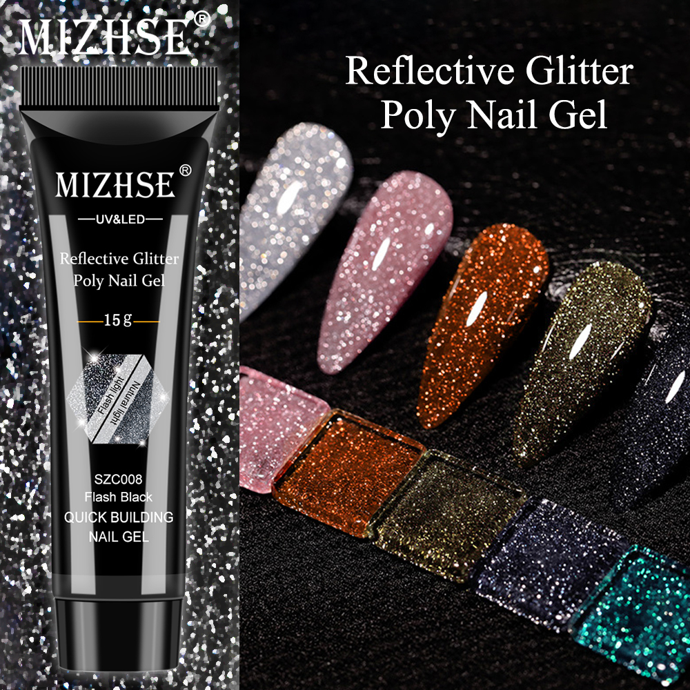Светоотражающий полигель для ногтей MIZHSE, 15 мл, акриловый цветной полигель для наращивания ногтей, быстрое наращивание ногтей