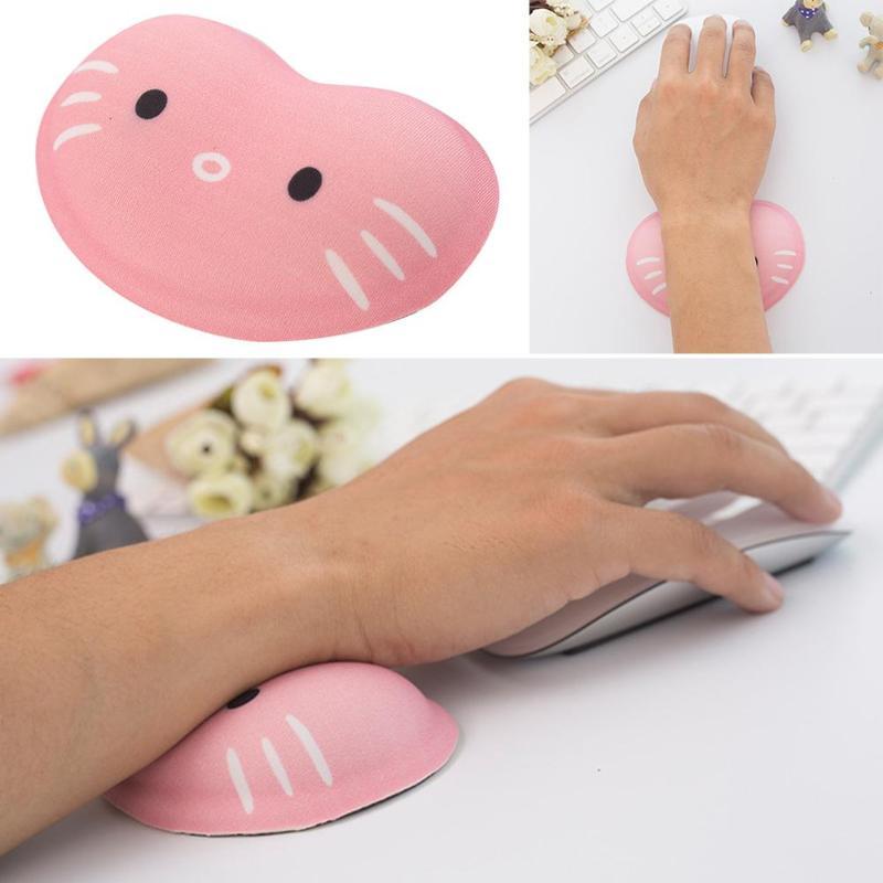 Cartoon Cat Hand Pad Silicone Computer Mouse Anti-skid Bottom Ergonomic Design Wrist Rest Support Desktop Hand Cushion Pad