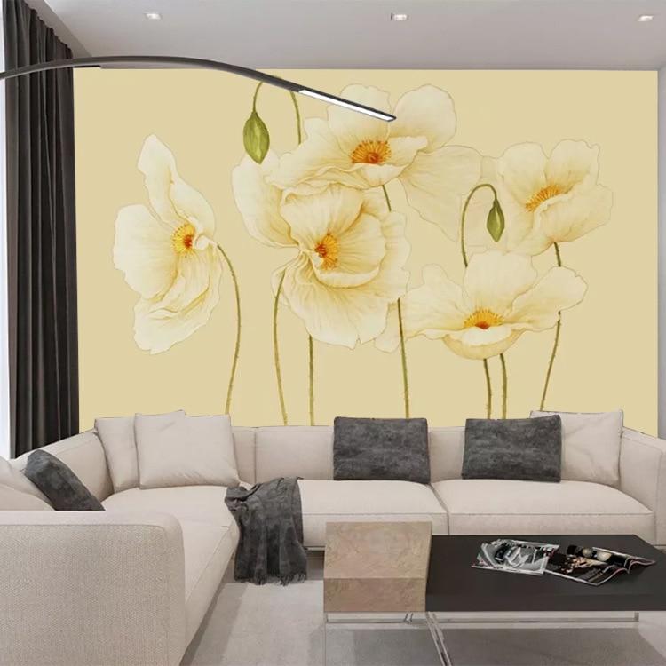 3D Mural Minimalist Modern Hand-Painted Flower TV Background Wallpaper Living Room Sofa Seamless Non-woven Wallpaper