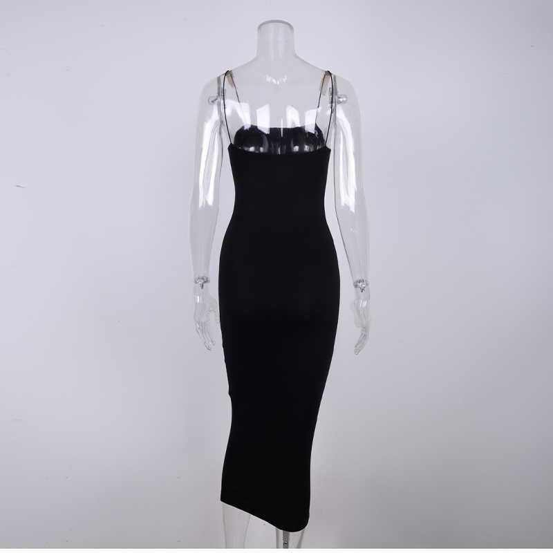 Newasia vestido longo de algodão com 2 camadas, sexy, alça espaguete, para festa, clube, verão 2019