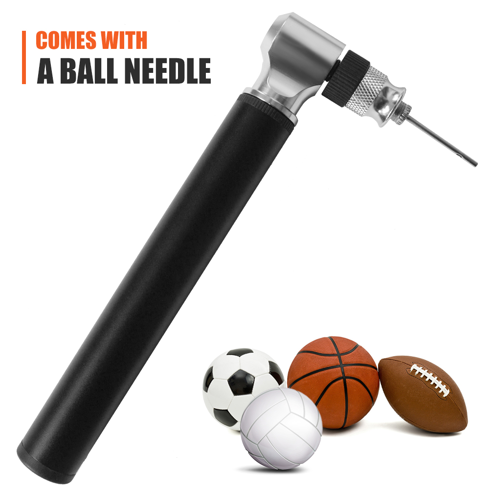 Basketball High Pressure Mini Bicycle Pump Ball Tire Inflator W// Needle Pump