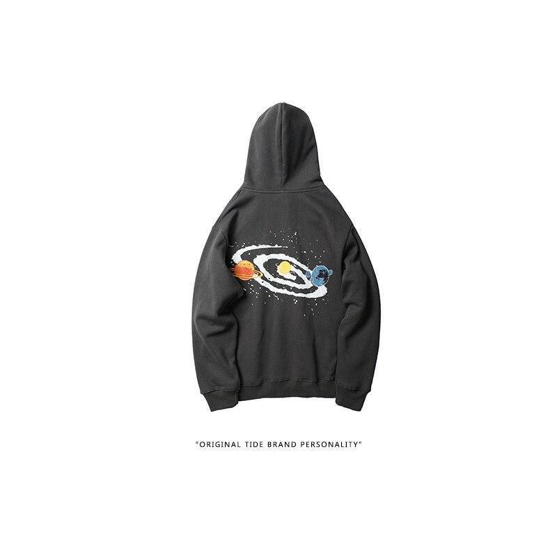 Universe Big Bang Print Fleece Pullover Hoodies Sweatshirts Men Casual Hooded Hoodie Hip Hop Streetwear Fashion Tops Couple wear