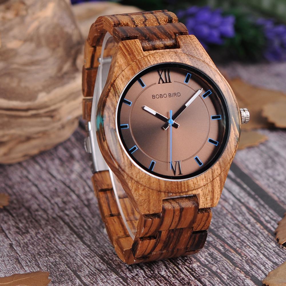 Image 2 - Relogio masculino bobo pássaro relógio de madeira homem design especial artesanal relógios de pulso para ele com caixa de presentes de madeira oem dropshippingRelógios de quartzo   -