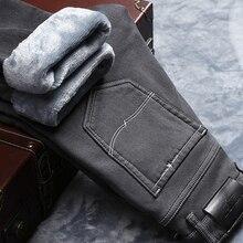 2020 zima nowe męskie ciepłe szare dżinsy wysokiej jakości elastyczność zagęścić Skinny Plus aksamitne spodnie dżinsowe spodnie męskie markowe ciuchy