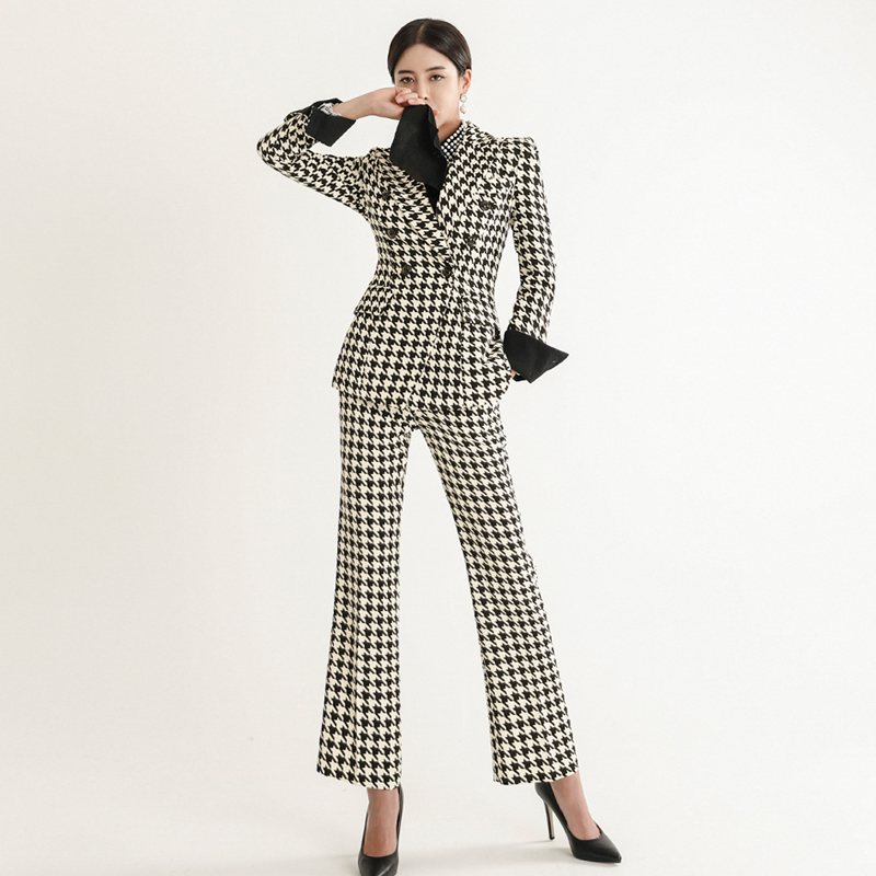 2piece Set Women Professional Pants Suit New Style OL Temperament Suit Fashion Houndstooth Long Sleeve Suit Pants Women Suit Set