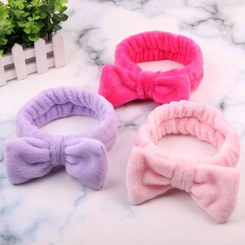 Coral Fleece Bow Hair Bands Solid Color Wash Face Makeup Soft Elastic Headband Turban Head Wraps Hairband Hair Accessories image