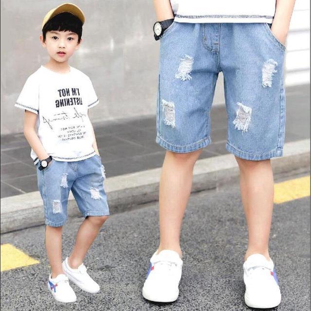 Boys' High-Denim Ripped Shorts