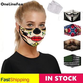 OneLineFox NEW Fashion Flowers Skull Print Face Fabric Mask Simple Design Washable Masks Adult Reusable Mouth Cover Florals allover florals print fringe hem kimono