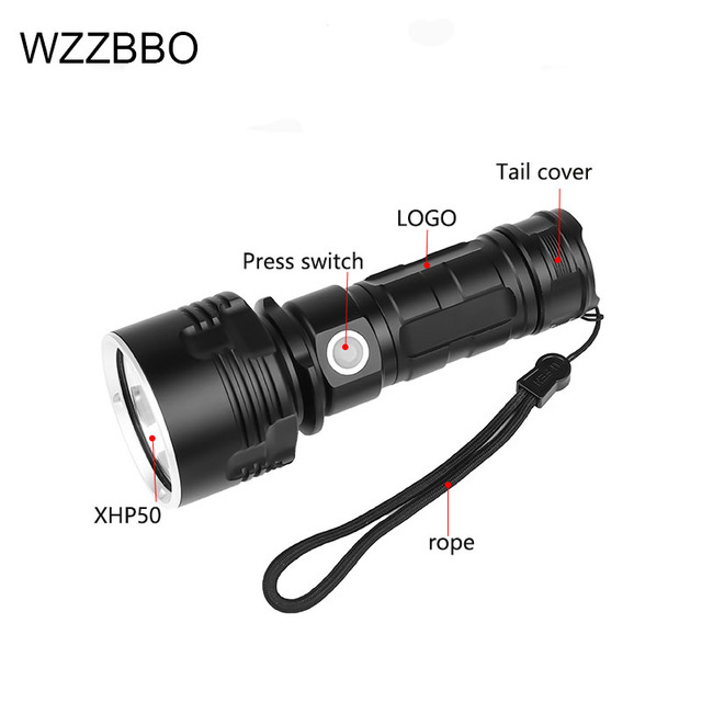 Фото супермощный светодиодный фонарик xhp50 водонепроницаемый ультраяркий цена