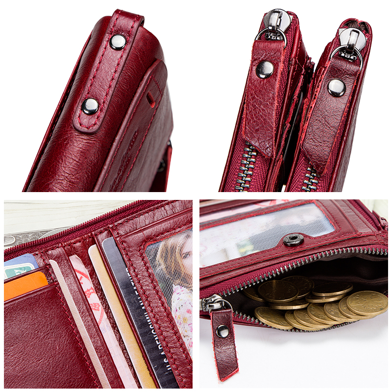 Image 3 - Genuine Leather Wallet Women Luxury Brand Double Zipper Small Coin Purse Female Classic Money Bag ID Card Holder Free Engravingmoney baggenuine leather wallet womenbrand leather wallet -