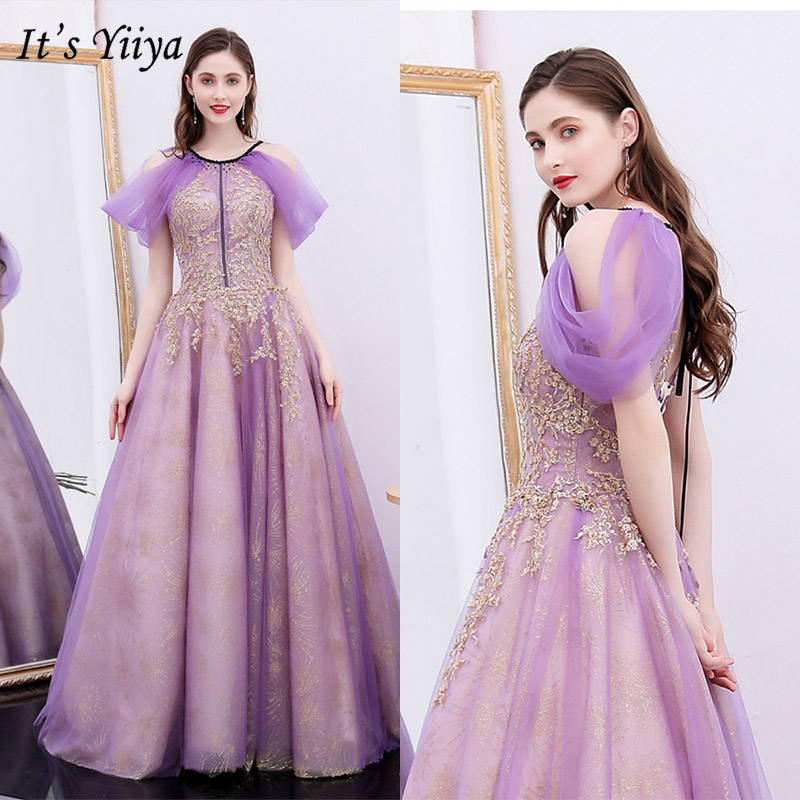 It's Yiiya Evening Dress Summer 2019 Elegant Embroidery Long Party Formal Dresses Short Sleeve O-Neck Plus Size Ball Gown E1039