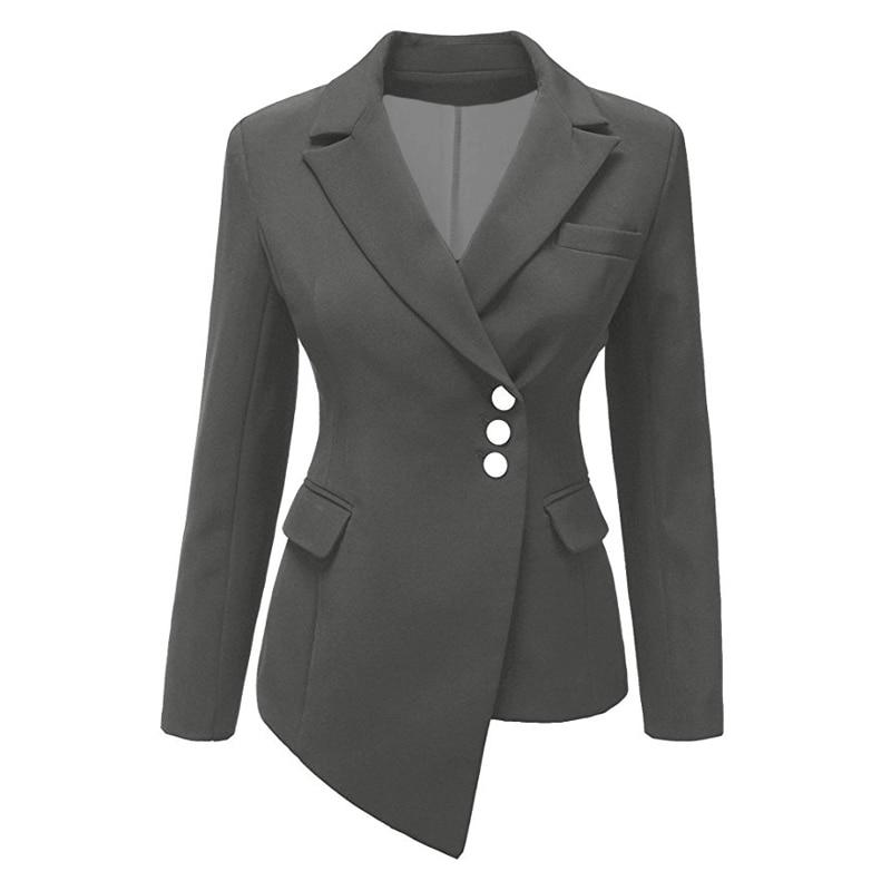CINESSD Women Lapel Blazers Coat Solid Long Sleeve Single Breasted Office Lady Pocket Cotton Asymmetry Casual Suit Jacket Blazer