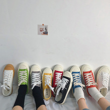SWYIVY Womens Vulcanized Shoes Women Sneakers Canvas Shoes Lace Up Mixed Colors Flats Ladies Breathable White Canvas Shoes