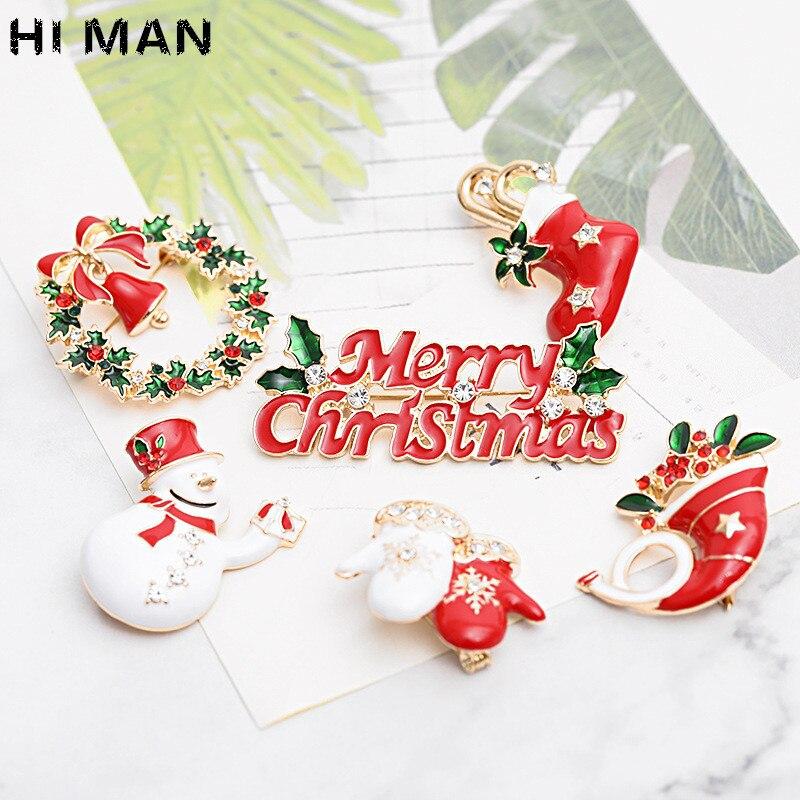 HI MAN искусственная модная Рождественская брошь, Санта-Клаус, Рождественская елка, лось, простой мультяшный стиль, модный праздничный подаро...