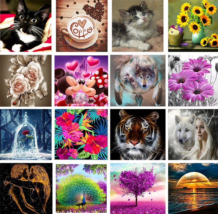 CW/_ KF/_ Full Drill DIY Animal 5D Diamond Painting Embroidery Cross Wall Art Deco