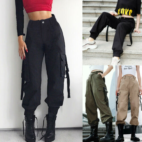 Fashion Women Stretch Cargo Trousers Pocket Long Pants Sports Joggers Bottoms