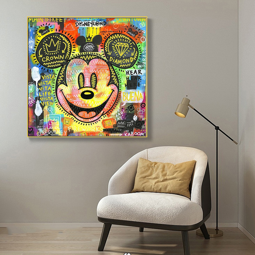 Modern Golden Luxury Disney Canvas Painting Nordic Mickey Mouse Wall Art Posters Prints Living Room Pictures Home Cuadro Decor