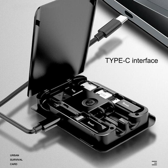 BUDI Multi-funzione Smart Card Adapter Cavo Di Dati di Archiviazione Box USB Caricabatterie Universale Senza Fili per il iPhone Xiaomi Huawei 1