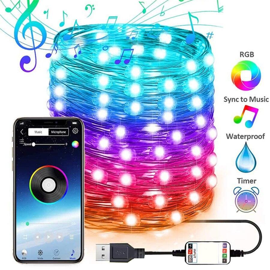 Bluetooth приложение Управления Рождественская елка светодиодный светильник Феи USB медный провод струнный светильник гирлянда для свадебной вечеринки бар праздник|Светодиодная лента|   | АлиЭкспресс