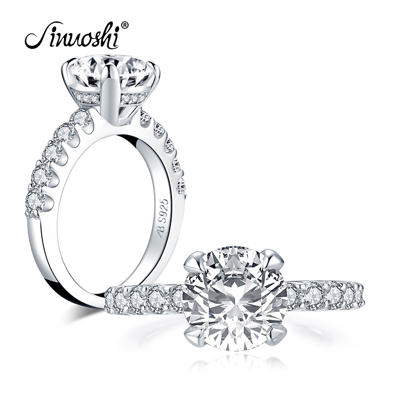 AINUOSHI 925 Sterling Silver 2.65ct Round Cut Halo Engagement Ring Simulated Diamond Wedding 9.0mm Bridal Ring Jewelry Gift