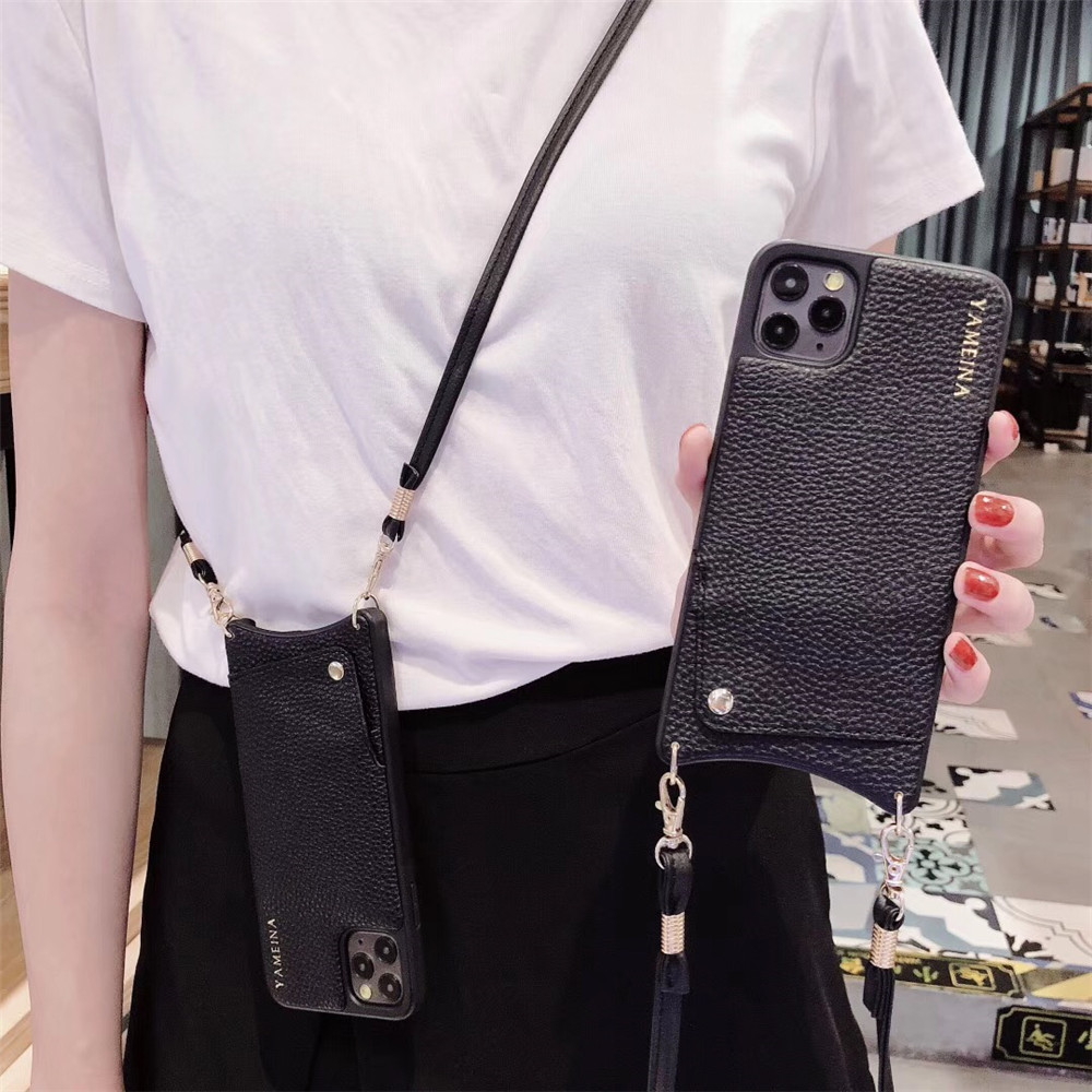 Credit Card Leather Wallet Strap Crossbody Long Chain Phone Case for Iphone 11 pro XR XS Innrech Market.com