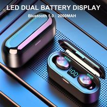 F9 Bluetooth 5,0 V беспроводные наушники TWS водонепроницаемые HD наушники беспроводные стерео беспроводные наушники с шумоподавлением игровая гарнитура Мощный светодиодный дисплей блютуз наушники