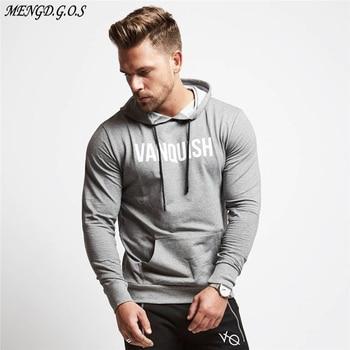 Hot sale cotton fashion mens hoodie streetwear casual sweatshirt jogger gym bodybuilding clothing