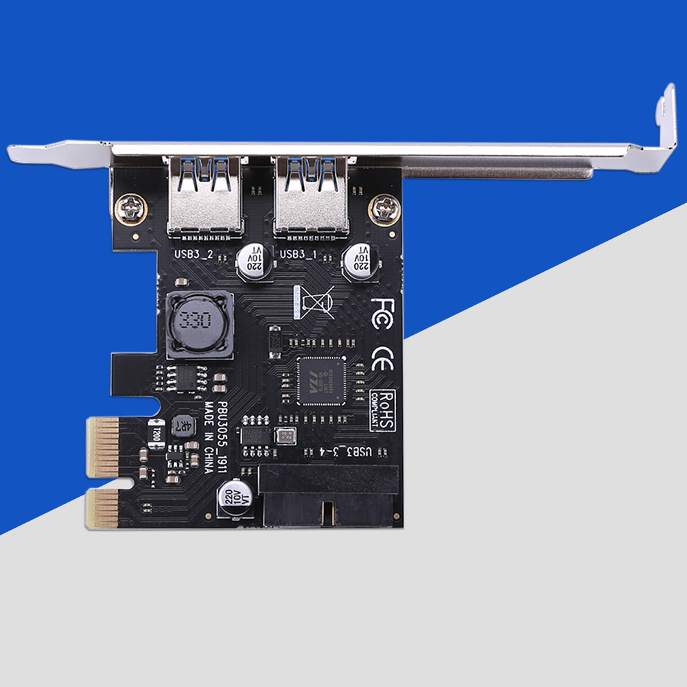 SSU 2 Port <font><b>USB</b></font> <font><b>3.0</b></font> <font><b>PCI</b></font>-e x1 Expansion Card <font><b>PCI</b></font> <font><b>Express</b></font> Adapter for Desktop image