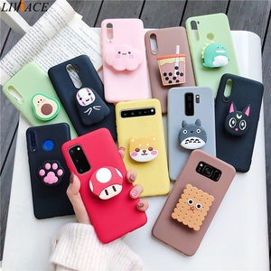 3D silicone cartoon phone holder case for samsung galaxy s20 s20 plus ultra s10 5g s10e lite s9 s8 plus s7 edge stand cover