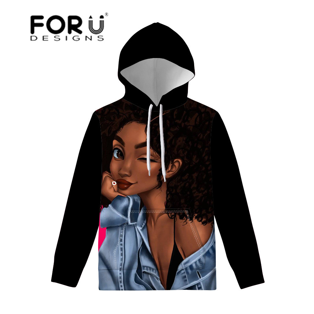 FORUDESIGNS Women Hoodies Black Art African Girls Printing Pullovers Hoodie Ladies Sweatshirt Long Sleeve Hoodies Couple Wear