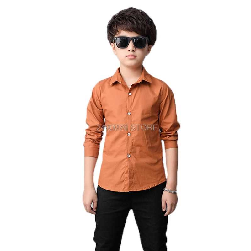 Shirts For Boys Brand Spring Autumn Kids Cotton Shirts Children Clothing Boys Teenage Sports School Uniform Dress Shirts