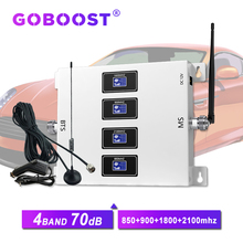 GOBOOST 70dB Car 4 band cellular amplifier 4g GSM 900 1800 2100 repeater 850 2g 3g  mobile signal booster for car use 4g signal