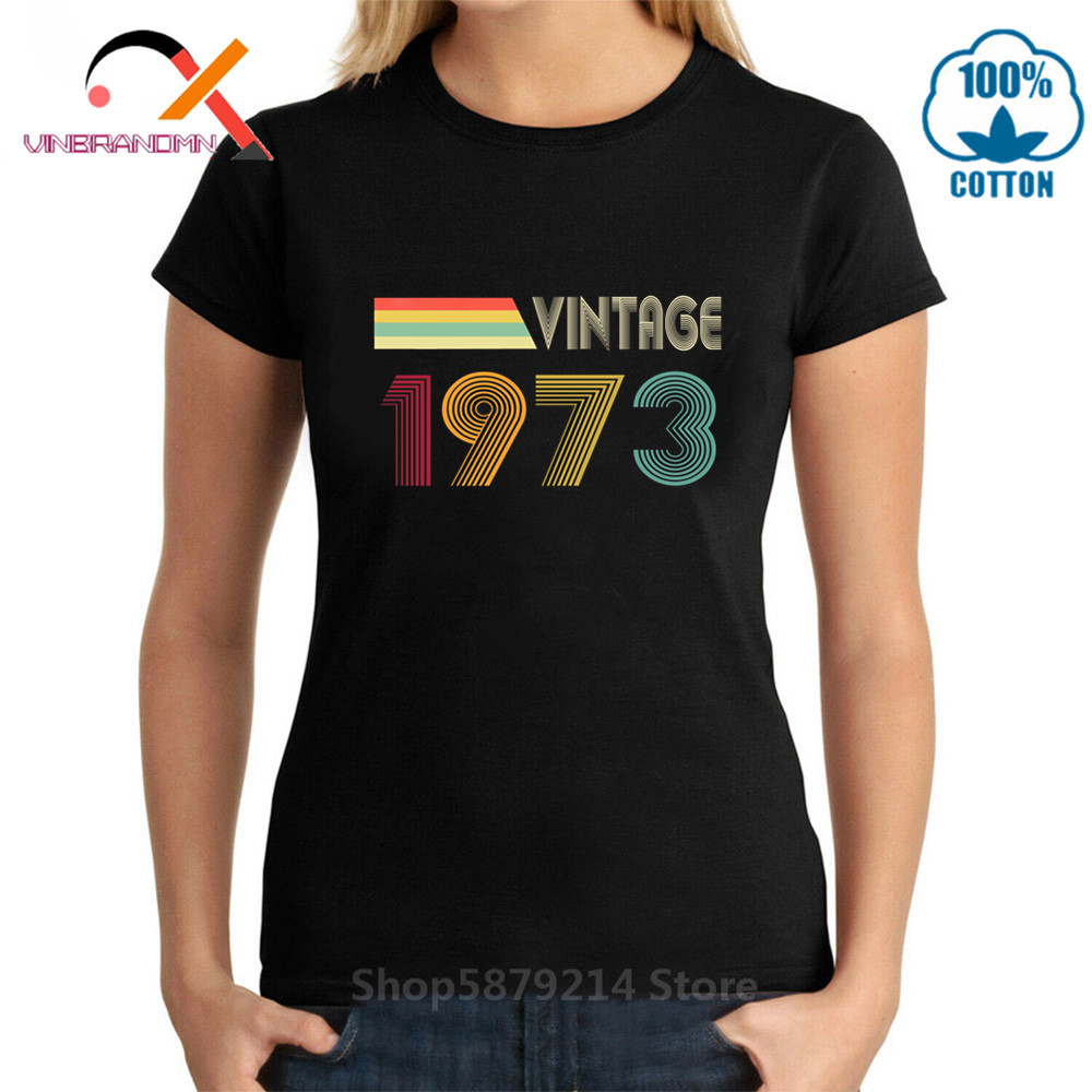 Vintage 1973 All Original Parts 47th Birthday Gifts T <font><b>Shirt</b></font> Women Novelty Tops <font><b>Wife</b></font> Husband T-<font><b>Shirt</b></font> Family Tee Tops image