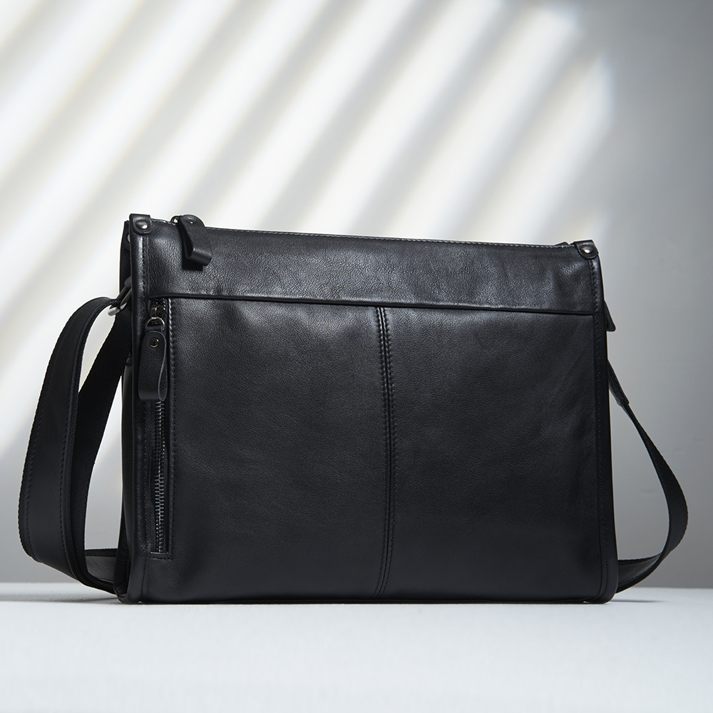 NUPUGOO Casual Large  Men Shoulder Crossbody Bag Genuine Leather Business Bag Black Classic Long Section Messenger Male Ipad
